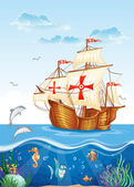 Water world with a sailing ship of Spain, XV century — Cтоковый вектор
