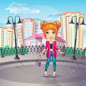 City promenade with a teen girl — Stock Vector