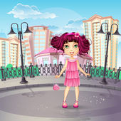City promenade with a teen girl in a pink dress — Stock Vector