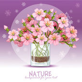 Cherry blossom in a glass — Stock Vector