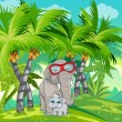 Jungle with a family of elephants. — Vector de stock  #50449781