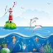 Lighthouse and the sea dolphins — Stock Vector #50449817