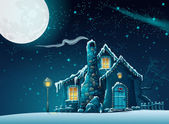 Winter night with a fabulous home in the moonlight — Stock Vector
