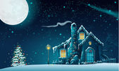 Christmas night with a fabulous house and a Christmas tree — Vector de stock