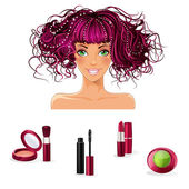 Makeup for girls with green eyes — Stock Vector