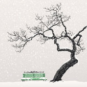 Winter landscape with a tree and a bench — 图库矢量图片