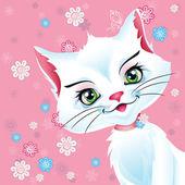 Weiße katze auf einem rosa hintergrund — Stockvektor