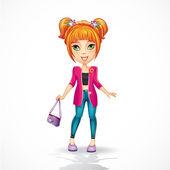 Urban-teen girl in a pink jacket — Stock Vector