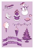 Año nuevo y artículos de navidad — Vector de stock