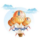 Globo de aire caliente en el cielo — Vector de stock