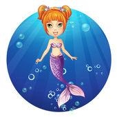 Cheerful girl mermaid. — Stock Vector
