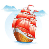 Sailboat with red sails. — Stock Vector