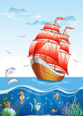 Sailboat with red sails and the underwater world. — Stock Vector