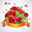 Happy Valentine's Day with red roses and yellow ribbon — Stock Vector #50451299