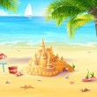Sea with sand castle and merry mushrooms — Stock Vector #50456113