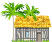 A house with a thatched roof and palm trees — Vettoriale Stock