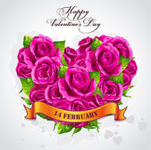 Happy Valentine's Day with a heart of roses — Stock Vector