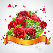 Happy Valentine's Day with red roses and yellow ribbon — Stock Vector