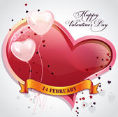 Valentine's Day with hearts and balloons — Vettoriale Stock