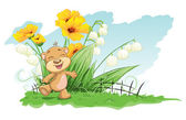 Cheerful bear with lilies and flowers — Stock Vector
