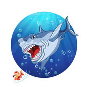 Shark chase the little fish — Stock Vector