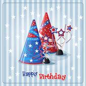 Birthday hats and confetti — Stock Vector