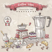Coffee with the Turks, cup, coffee pot and a variety of sweets — Stock Vector