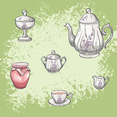 Set of tea and jam jars — Stock Vector
