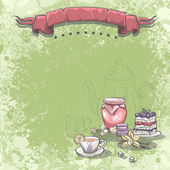 Cup of tea, jam cake and vanilla flower. — Wektor stockowy