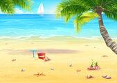 Sea shore with palm trees, shells, bucket and rake — Stock Vector
