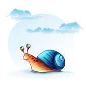 Illustration cheerful snail on a background of sky with clouds — Stock Vector