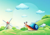 Illustration cheerful snail on a meadow — Stock Vector