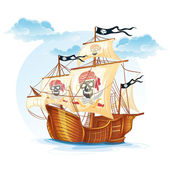 Image caravel ship pirates. XV century — Stock Vector