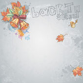 Background image for text with a school bell and autumn leaves — Stock Vector