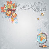 Background image for text with a school bell, autumn leaves and globe — Stock Vector
