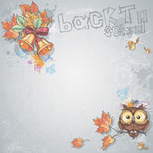 Background image for text with a school bell, autumn leaves and intelligent owl — Stok Vektör