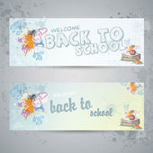 Set with two horizontal banners with school books and apple — Stock Vector