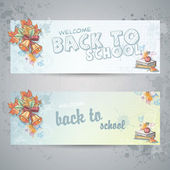 Set with two horizontal banners with school books, apple and autumn leaves — Stock Vector
