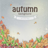 Image of autumn background with leaves, chestnuts and acorns. — Stock Vector