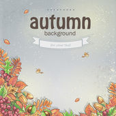 Image of autumn background with maple leaves, oak, chestnut, rowan berries and acorns — Vecteur