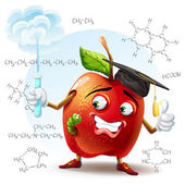 Illustration of school apple with a worm and with a test tube in hand with the chemical formulas in the background. — Stock Vector