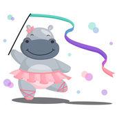 Ballerina Hippopotamus — Stock Vector