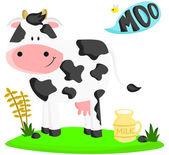 Vaca de granja — Vector de stock