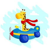 Flying Giraffe — Vector de stock