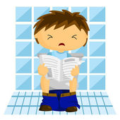 Homme dans les toilettes — Vecteur
