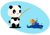 Panda och fisk — Stockvektor
