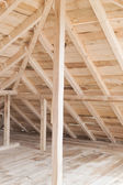 Interior view of a wooden roof structure — Stock Photo