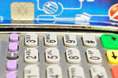 POS terminal on the table. Close-up — Stock Photo