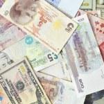 Assorted international paper money close up  — Stock Photo #51530395