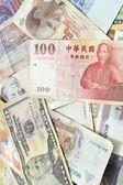 Assorted international paper money close up  — Stock Photo
